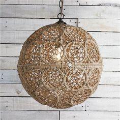 Medium Macrame Jute Sphere Pendant