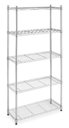 Whitmor 6060-267 Supreme 5-Tier Shelves, Chrome by Whitmor Mfg. Corp.. $79.97. 350 lb. shelf capacity. Heavy duty chromed steel construction. Adjustable leveling feet. 10 year limited warranty. Easy no tool assembly. Expand the shelf space in your kitchen, laundry room, basement, bathroom, office or anywhere you need extra storage throughout the house with Whitmor's Chrome Supreme 5-Tier Shelving Unit. This durable shelf unit is constructed of heavy duty chromed steel f...