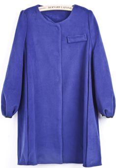 Blue Long Sleeve Pocket Embellished Woolen Coat US$64.02