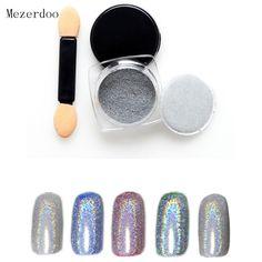 1g/Box Shiny Laser Nail Powder Holographic Nail Glitter Rainbow Chrome Pigment Manicure Pigments Dust Nail Art Decorations
