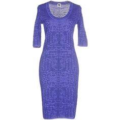 M Missoni Knee-length Dress ($350) ❤ liked on Polyvore featuring dresses, dark purple, blue short sleeve dress, blue knee length dress, knee-length dresses, two-tone dress and m missoni