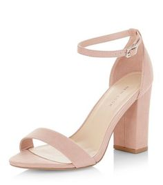 New Look Pink Suedette Ankle Strap Block Heels , - Soft suedette finish-  Ankle strap fastening- Heel height: