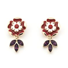 Tudor Rose Earrings by Bill Skinner  The use of enamelling on these earrings is characteristic of the Tudor and Stuart period and particularly of the Cheapside Jewellery from 1610, which was dug up beneath a floor in Cheapside in 1912.
