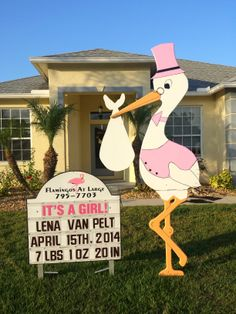 Fill their yard! Birthday Yard Signs www. Welcome Home Surprise, Welcome Home Baby, Welcome Home Soldier, Stork Baby Showers, Bradenton Beach, Birthday Yard Signs, Lawn Sign, Flamingo Birthday, Pink Flamingos
