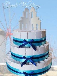 Greek island wedding cake