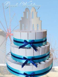 Greek island wedding cake