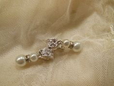 CAROLEE Faux Pearl and Rhinestone Drop by SilentWhisperVintage, $16.00