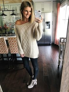 Off the Shoulder Sweater with Faux Leather Leggings #fallfashion #fauxleatherleggings #offtheshouldersweater #spanx #shopthelook