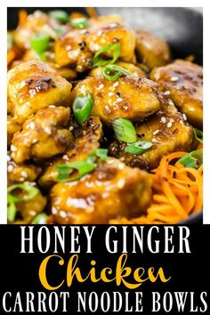 Sticky, sweet and savory crispy baked Honey Ginger Garlic Chicken over crunchy spiralized strands of carrot noodles are a match made in healthy, fake-out take-out heaven! Easy to prepare and even easier to devour! #honey #ginger #garlic #chicken #carrot #noodles #bowl #healthy #baked #recipe via @nospoonn