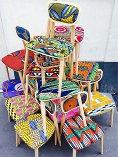 Création originale de Sandrine Alouf en collaboration avec Aleph showroom. Tissus wax africain sur design danois.