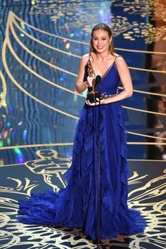 Actress Brie Larson accepts the Best Actress award for 'Room' during the 88th Annual Academy Awards at the Dolby Theatre on February 28, 2016 in Hollywood, California. Photo: Getty