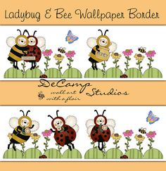 Ladybug and Bumble Bee Wallpaper Border Wall Decals for baby girl nursery or children's bedroom decor #decampstudios