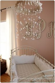 Beautiful Baby Girl Mobile. DIAMONDS  PEARLS!! -- LOVE! lol my sisters are going to be rolling their eyes at all the                                                     girly things I want to make for Marley-                soft beiged down pink along with white and beige