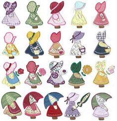 Muñecas con sombrero y paraguas para aplicaciones