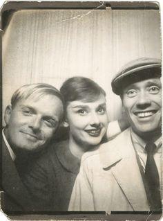 Truman Capote, Audrey Hepburn and Mel Ferrer, 1961.