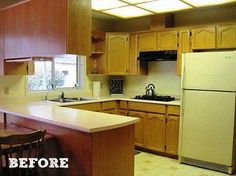 Antes y después de una cocina antigua y oscura a una llena de luz