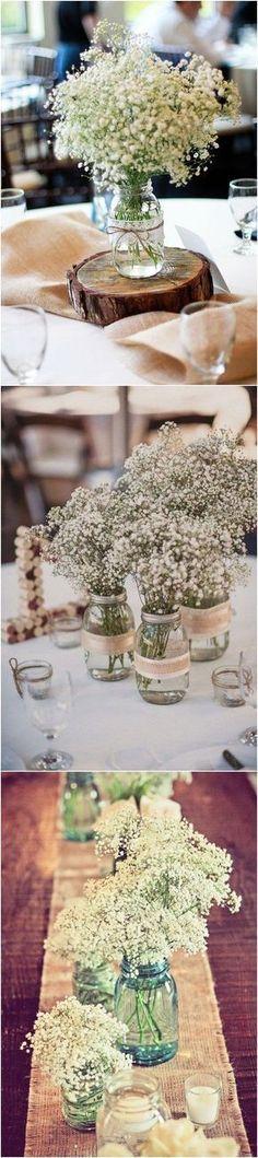 20 Rustic Baby's Breath Wedding Centerpiece Decorations Ideas #weddings #weddingcenterpieces #weddingdecorations #weddingideas