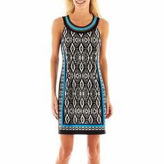 Studio Ribbon Necklace Ikat Printed Dress - JCPenney
