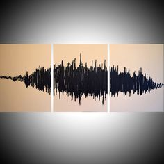 """Original painting abstract triptych landscape large painting impasto wall canvas art black white Modern Palette Knife Painting 20 x 48 """" by wrightsonarts on Etsy https://www.etsy.com/listing/240317300/original-painting-abstract-triptych"""