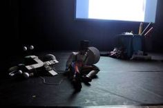 Performance art at the Empire Theatre, Toowoomba August 2013. kelly-marie mcewan and matt collins 7, textile artist vs. musician/actor