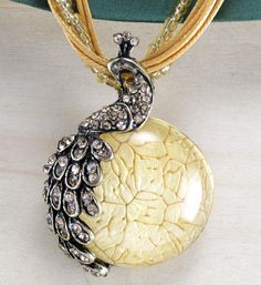 Yellow Crystal Peacock Handwoven Necklace Glass Beaded Satin Cord Pendant Classic Vintage Style Rhinestone Jewlery Handmade Gift Idea