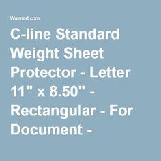 """C-line Standard Weight Sheet Protector - Letter 11"""" x 8.50"""" - Rectangular - For Document - Polypropylene - 10 / Pack - Clear - Walmart.com"""