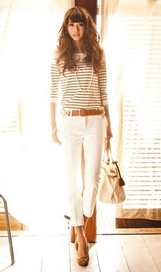 Sweet spring outfit - striped shirt, cropped white jeans or pants, tan heels (or sandals) and tan belt