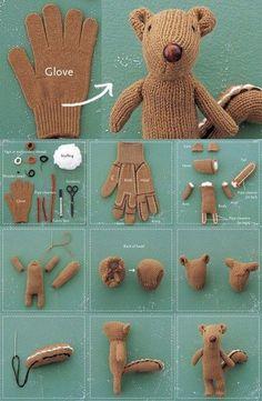 DIY Bär aus einem alten Handschuh. Das wird mit Sicherheit das Lieblingskuscheltier des Nachwuchs!