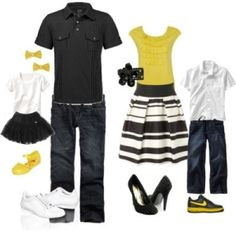what to wear family - black and white with some other pop of color - pink, green