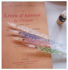 Delicate glass pens in lovely pastel colors. How To Write Calligraphy, Calligraphy Pens, Fancy Pens, Nice Pens, Writing Pens, Best Pens, Dip Pen, Fountain Pen Ink, Pen And Paper