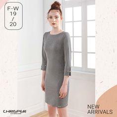 Φόρεμα με ρόμβους με μεταλλική κλωστή, διακοσμημένο με κεντήματα στα μανίκια. Κωδικός: 52321 Sweaters, Dresses, Fashion, Vestidos, Moda, Fashion Styles, Sweater, Dress, Fashion Illustrations