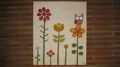 Owl and flower canvas