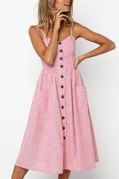 2018 Summer Linen Beach Striped Dress Button Casual Pockets Dress Camisole A Line Long Polka Dot Dress Boho Sundress Vestidos Boho Midi Dress, V Neck Midi Dress, Midi Dresses, Flower Dresses, Casual Midi Dress, Midi Dress Outfit, Boho Sundress, Dot Dress, Dress Outfits