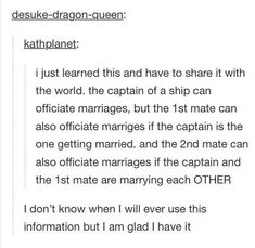 The first thing I thought when I read this was Pirates of the Caribbean – funny wedding quotes Writing Help, Writing Tips, Writing Prompts, Memes Humor, Funny Memes, Jokes, 9gag Funny, My Tumblr, Tumblr Funny