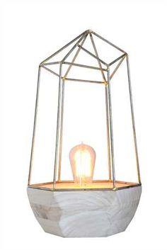 Hexagonal Wood and Metal Table Lamp
