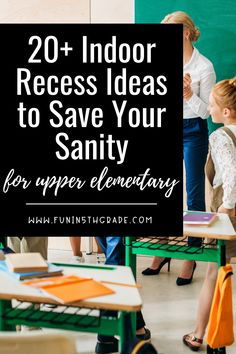 Indoor recess got you down? Check out this post for 20  ideas to keep it your sanity and make it FUN for your students. Games, activities, and music for upper elementary that will help you make it through.  Your students will look forward indoor recess with these fun and engaging activities. Classroom Routines And Procedures, Classroom Games, Classroom Management, Classroom Incentives, Indoor Recess Games, Fun Indoor Activities, Upper Elementary, Elementary Schools, Class Games