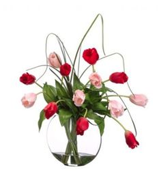 Pink and Red Tulips with Water Look Glass Vase ARWF3059