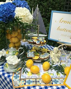 32 Unique Winery Themed Bridal Shower Ideas To Try Asap Italian Theme, Italian Party, Lemon Party, Mediterranean Wedding, Bridal Shower Party, Bridal Showers, Partys, Decoration Table, Event Decor