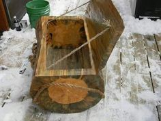 Hand carved wooden ice chest..