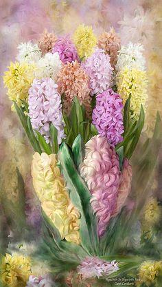 Hyacinth In Hyacinth Vase 2 Mixed Media by Carol Cavalaris