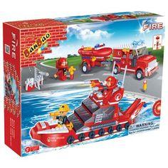 BanBao brandweerboot 8312  Wanneer er branden geblust moeten worden op zee of in de haven komt de blusboot van de BanBao brandweer in actie! Voor reddingsoperaties heeft de brandweer ook de beschikking over een auto met boottrailer erachter.  EUR 18.68  Meer informatie