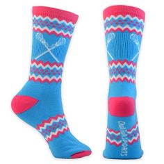 Girls lacrosse socks. Super cute pink and blue chevron patterned socks with lax sticks on them!