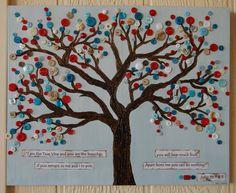 "Button Tree Art, Christian Art, Scripture Wall Hanging, Nursery Art, Inspirational Art, John 15: 1 & 5, ""I am the Vine You are the Branches""..."
