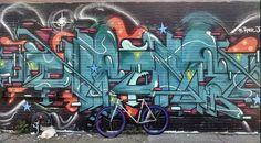 A Pure Fix Whiskey against a graffiti mural. #bike #bicycle #fixie #fixedgear #art #streetart #graffiti