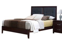 Edina Contemporary Espresso Wood Vinyl Queen Bed