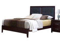 Edina Contemporary Espresso Wood Vinyl Queen Bed