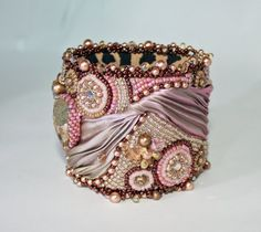 Bead Embroidered Cuff Bracelet Pink Charity Flexible by ReneGibson, $220.00