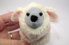 Pink Grey White Sheep Mouse ornament felt by TheHouseOfMouse, £16.00
