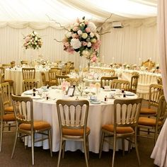 We  the pretty vintage floral styling  gold chairs in the marquee at Crow Hill ! Join them for their wedding fair this Sunday  explore the house and grounds yourself {click on the link in the bio for more details}  #weddingvenues #weddings #weddingbreakfast #goldchairs #weddingmarquee #floralwedding #vintageweddings #weddingflowers #whiteflowers #pinkflowers #Marsdenweddingvenue #WestYorkshireweddingvenues {http://buff.ly/2lFN1GY}