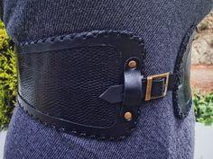 Hand stitched BLACK LIZARD Cow&goat Leather Waist belt